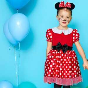 Kinder-Mädchen-Miss-Maus-Kostüm mit Haarreif