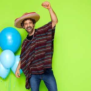 Mexikaner-Kostüm bestehend aus Poncho für Erwachsene