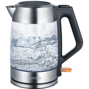 Severin Wasserkocher WK 3475, Glas-Edelstahl-gebürstet-schwarz