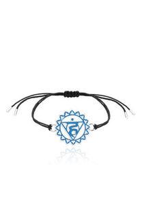 Nenalina Armband Vishuddha Chakra Symbol Anhänger Enamel 925 Silber, Blau