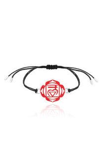 Nenalina Armband Muladhara Chakra Symbol Anhänger Enamel 925 Silber, Rot