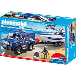 PLAYMOBIL® City Action Polizei-Truck mit Speedboot 5187
