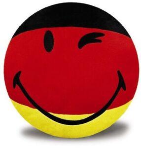 NICI Kissen Smiley in schwarz rot gold, 35cm