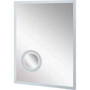 kleankin LED Badspiegel mit Schminkspiegel silber 60 x 4 x 80 cm (LxBxH) | Badezimmerspiegel Kosmetikspiegel Vergrößerungsspiegel