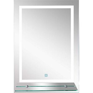 kleankin LED Badezimmerspiegel mit Glas-Ablage silber 50 x 4 x 70 cm (LxBxH)   LED Badspiegel Schminkspiegel Kosmetikspiegel