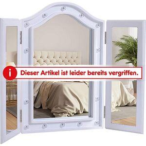 HOMCOM LED Kosmetikspiegel freistehend weiß 4,5 x (36-73) x 53,5 cm (LxBxH)   Schminkspiegel Badspiegel freistehender Spiegel