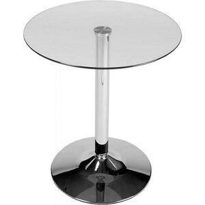 CLP Glastisch mit einer runden Tischplatte aus Sicherheitsglas   Stehtisch mit Metallgestell in Chrom-Optik   Durchmesser Ø 60 cm, Höhe 70 cm