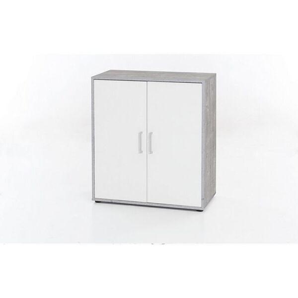 Kommode mit 2 Türen, Ausf. Melamin Beton / Weiß Dekor