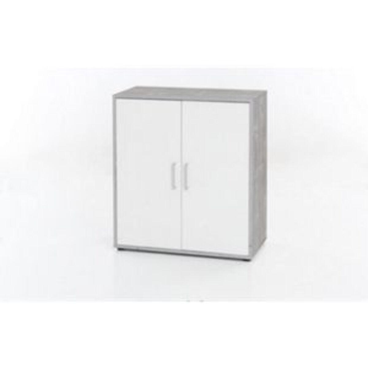 Bild 2 von Kommode mit 2 Türen, Ausf. Melamin Beton / Weiß Dekor