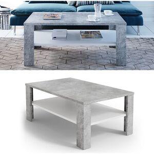 VICCO Couchtisch Beton Optik Weiß Wohnzimmertisch Beistelltisch Holztisch