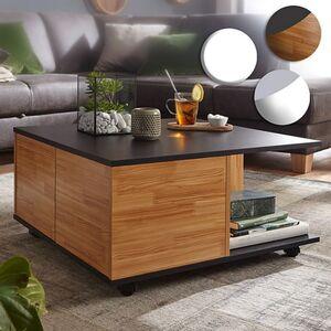 Wohnling Couchtisch 70x70 cm Wohnzimmertisch Sofatisch mit 2 Fächern Design Tisch mit Rollen