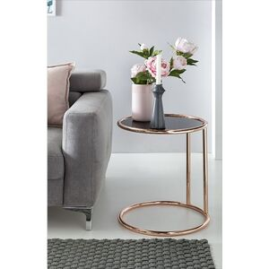 Wohnling Design Beistelltisch Metall Glas ø 45 cm Schwarz / Kupfer   Wohnzimmertisch verspiegelt Couchtisch modern   Glastisch Sofatisch rund