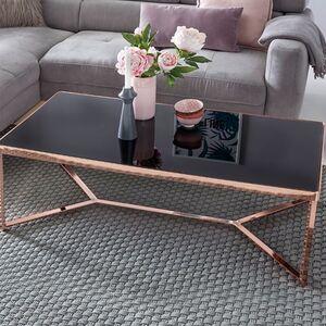 Wohnling Design Couchtisch Schwarz/Kupfer 120x60 cm Wohnzimmertisch mit Glasplatte modern Sofatisch Glastisch