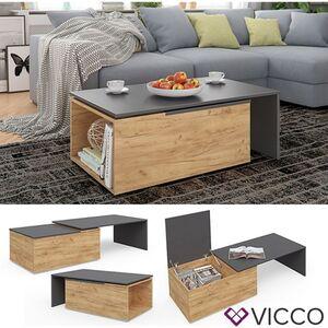 VICCO Couchtisch LEO 60x100cm Anthrazit Sandeiche Wohnzimmertisch Beistelltisch
