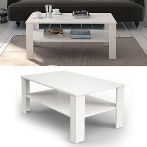 VICCO Couchtisch Weiß 100 x 60 cm - Wohnzimmertisch Beistelltisch Holztisch