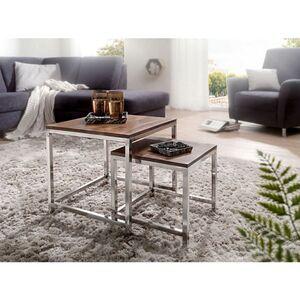 Wohnling 2er Set Satztisch GUNA Massiv-Holz Sheesham Wohnzimmer-Tisch Metallgestell Landhausstil Beistelltisch braun natur