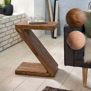 """Wohnling Beistelltisch MUMBAI Massivholz """"Z"""" Cube 60cm hoch Wohnzimmertisch braun Landhausstil Couchtisch"""