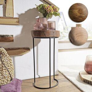 Wohnling Beistelltisch AKOLA Massivholz Wohnzimmertisch Metallbeine Baumstamm Tisch Echtholz