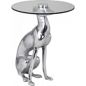 Wohnling Deko Beistelltisch Figur DOG aus Aluminium Farbe Silber