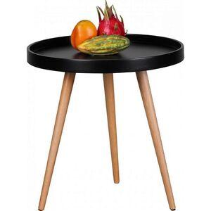 Wohnling Design Couchtisch WL1.694 Schwarz Ø 50 x 50 cm Skandinavischer Retro Look   Matt Lackierter Tabletttisch   Wohnzimmer-Tisch mit Holz-Gestell   Sofatisch Rund   Dreibein Beistelltisch