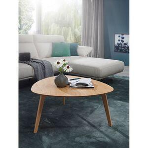 Wohnling Couchtisch SKARA MDF Eiche Furnier Wohnzimmertisch 80 cm Holztisch Landhaus Beistelltisch Eiche Nierentisch Kaffeetisch