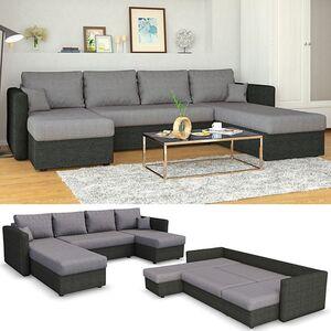 VICCO XXL Ecksofa mit Schlaffunktion Grau - Wohnlandschaft Schlafsofa Sofa Taschenfederkern Couch