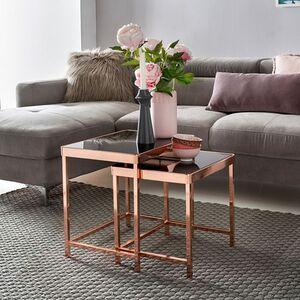 Wohnling Design 2er Set Satztisch Couchtisch Metall Glas Schwarz / Kupfer   Beistelltisch verspiegelt Wohnzimmertisch modern   Glastisch mit Metallgestell