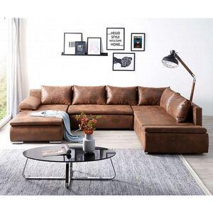 Couch Abilene Braun 330x230 cm Ottomane variabel Schlaffunktion Wohnlandschaft