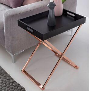 Wohnling Beistelltisch TV-Tray zusammenklappbar 48 x 61 x 34 cm schwarz / kupfer MDF   Design Wohnzimmertisch mit Tablett Kaffeetisch modern   Tabletttisch Holz