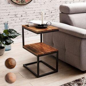 Wohnling Beistelltisch AKOLA S-Form Massivholz 45 x 60 x 30 cm kleiner Wohnzimmertisch mit 2 Ablagen