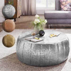 Wohnling Couchtisch JAMAL 72x31x72 cm Aluminium Silber Beistelltisch orientalisch rund   Flacher Sofatisch Metall   Design Wohnzimmertisch modern   Loungetisch Stubentisch klein