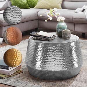 Wohnling Couchtisch MAHESH Ø 60 cm Aluminium Beistelltisch Orientalisch Hammerschlag Sofatisch Metall