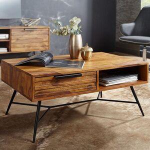 Wohnling Couchtisch NISHAN 87 x 41 x 55 cm Sheesham Massiv Holz   Design Holztisch mit Stauraum und Schublade   Massivholztisch Wohnzimmer   Retro-Industrial Wohnzimmertisch mit Metallbeinen