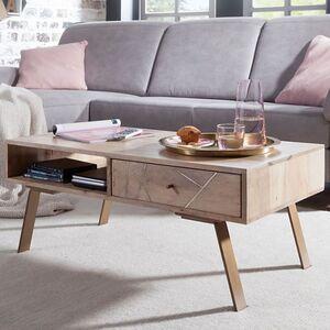 Wohnling Couchtisch SIKAR 95x42x50cm Mango Massivholz Sofatisch Wohnzimmertisch Stubentisch Holz Kaffeetisch