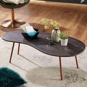 Wohnling Couchtisch JAI 122x34,5x63cm Akazie Metallbeinen Nierentisch Massivholz Holz Tisch Tischbeine Metall