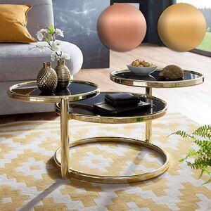 Wohnling Couchtisch SUSI mit 3 Tischplatten Schwarz 58x43x58 cm Glas / Metall Glastisch Sofatisch Loungetisch