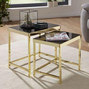 Wohnling Satztisch VIOLA Schwarz / Gold Beistelltisch Metall/Glas   Couchtisch Set aus 2 Tischen   Kleiner Wohnzimmertisch   Metalltisch mit Glasplatte   Ablagetisch modern