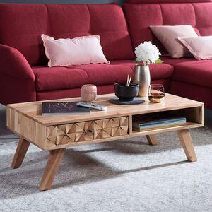 Wohnling Couchtisch REWA 95x35x50cm Akazie Massivholz Sofatisch Wohnzimmertisch Stubentisch Kaffeetisch