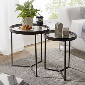 Wohnling Beistelltisch Ø 50/36 cm Schwarz 2 teilig mit Spiegel Glasplatte Wohnzimmertisch 2er Set Satztisch