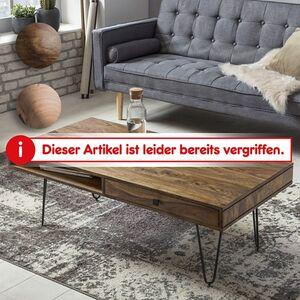 Wohnling Couchtisch BAGLI Massivholz 120 cm Wohnzimmertisch Metallbeine Sofatisch Massiv