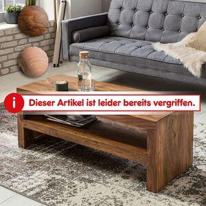 Wohnling Couchtisch MUMBAI Massivholz 45x110 cm Wohnzimmertisch Landhausstil Beistelltisch Echtholz