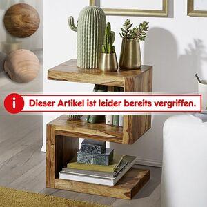 """Wohnling Beistelltisch MUMBAI Massivholz """"S"""" Cube 60cm hoch Wohnzimmertisch Landhaus-Stil Couchtisch"""