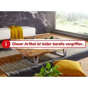 Wohnling Couchtisch ASURA 115x25x58 cm Akazie mit Metallgestell Wohnzimmertisch Massivholz Baumkante