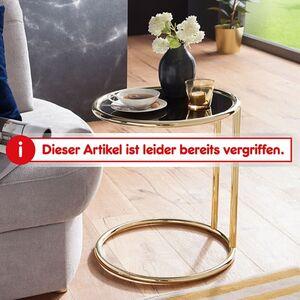 Wohnling Design Beistelltisch LEONA Ø 45 cm Couchtisch Rund Schwarz/Matt Gold   Designer Glas-Wohnzimmertisch modern   Glastisch mit Metallgestell   Kleiner Sofatisch   Runder Metalltisch Wohnzimmer