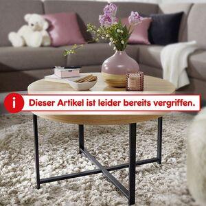 Wohnling Couchtisch Rund Ø69 cm mit Eichen Optik Tisch mit Stauraum Lounge-Wohnzimmertisch mit Metallbeine