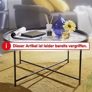 Wohnling Couchtisch Rund Ø 76 cm mit Marmor Optik Weiß Wohnzimmertisch Metallbeine Schwarz Beistelltisch
