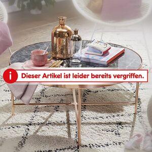Wohnling Couchtisch Marmor Optik Schwarz - Rund Ø82,5 cm Kupfer Metallgestell Wohnzimmertisch Großer Tisch