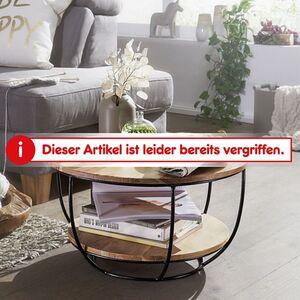 Wohnling Couchtisch 60 cm Akazie Wohnzimmertisch Rund Holz Massiv Sofatisch Industrial Tisch
