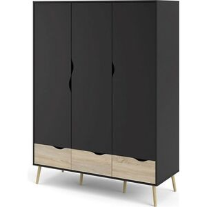 Kleiderschrank Napoli Eiche Struktur Dekor mat schwarz Schlafzimmer Schrank