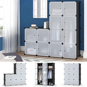 Vicco Kleiderschrank modular DIY Steckregal System Kunststoff 110x145x47 cm Garderobe Kleiderstange